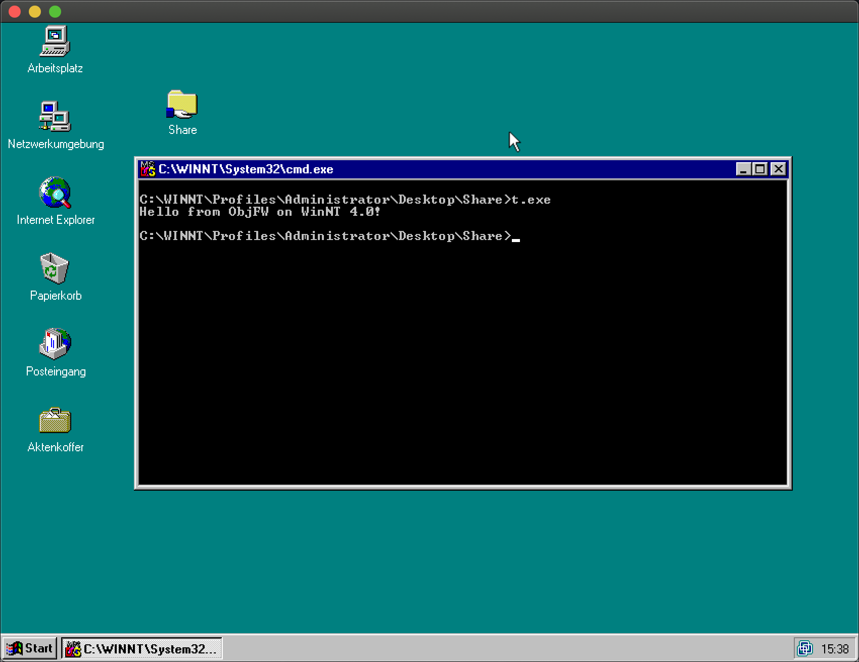 Hello world with ObjFW on Windows NT 4.0